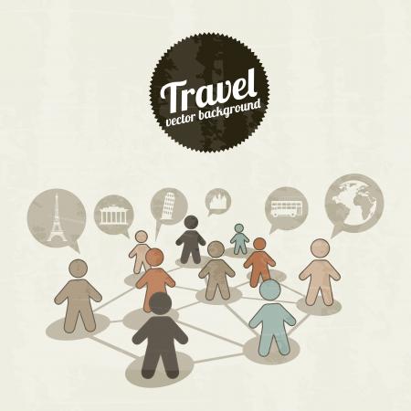 bussinesman: travels icons over vintage background illustration Illustration