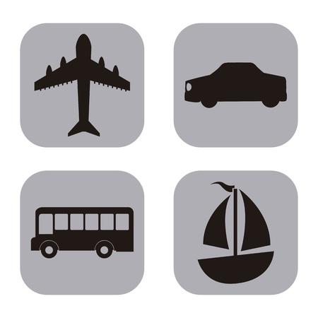 transport icons over white background illustration Vector