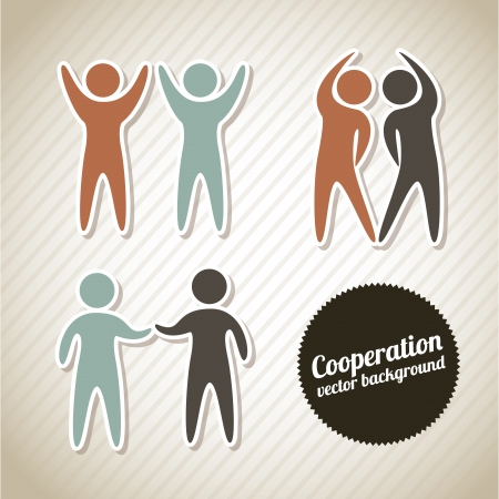 handshake icon: silhouette icons of cooperation  over vintage background