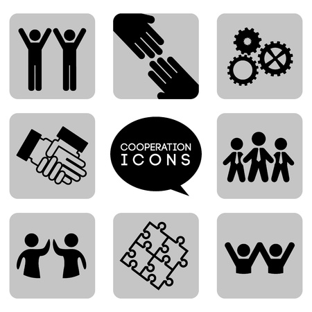 community help: monochromatic  cooperation icons over white background illustration