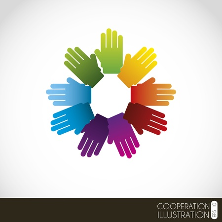 hands clasped over white background illustration Stock Vector - 19674449