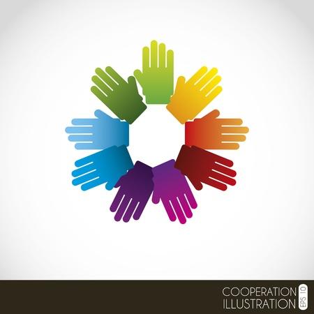 asociacion: las manos cruzadas sobre fondo blanco Ilustración Vectores