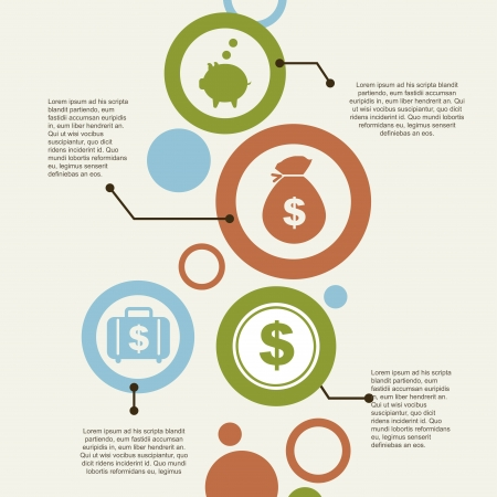 pieniądze: infografiki i ekonomia ikony ponad rocznika tle ilustracji