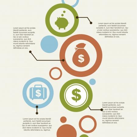 argent: infographie et de l'�conomie des ic�nes sur fond vintage illustration Illustration