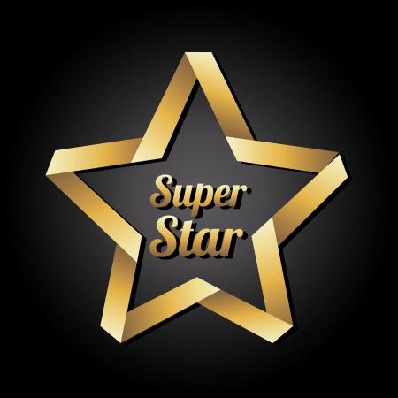 black star: super star golden over black background illustration