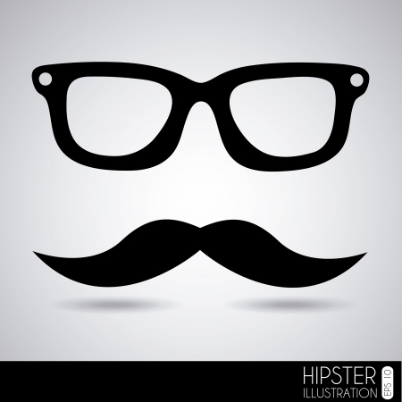 glasses and mustache over gray background illustration  Vector