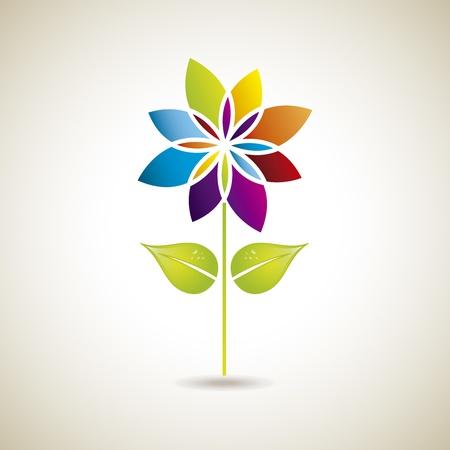 flower icon: flower silhouette  over vintage background illustration