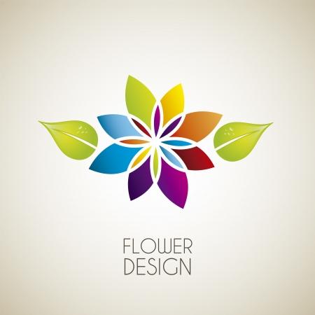 flower icon: flower design over vintage background illustration