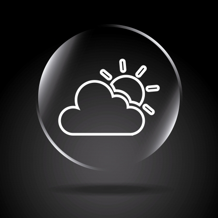 firmament: icon Cloudy over black background illustration