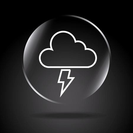 cloudburst: icon storm over black background illustration