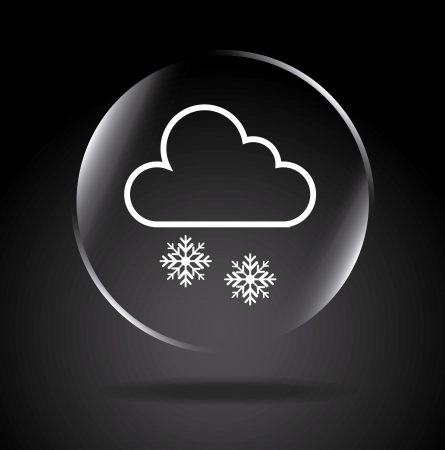 downfall: snowing icon over black background illustration