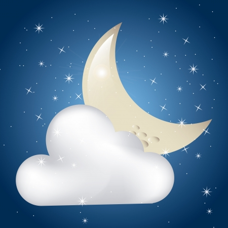 clouded moon over starry sky background vectror illustration Vector