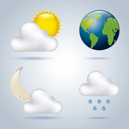 vectro: weather icons over blue background vectro illustration