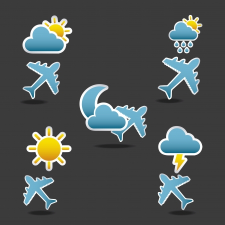 icons  flight conditions over black background illustration Vector