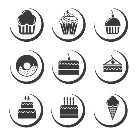 birthday cakes: cake icons over white background illustration