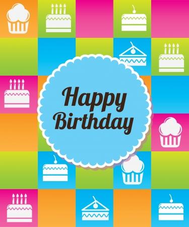 fruitcakes: happy birthday  icon over colorful background illustration