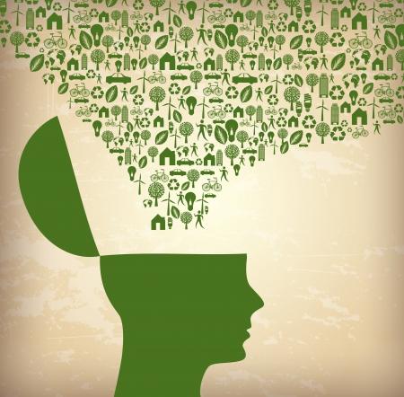 ecological icon over vintage background illustration