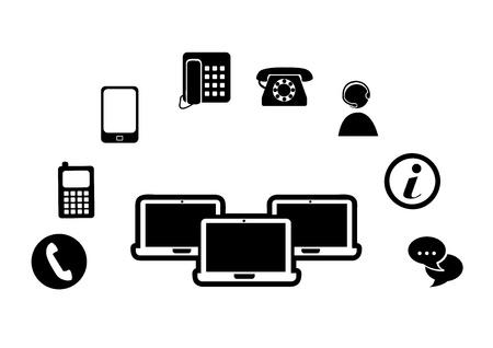 technological silhouette over white background illustration Stock Vector - 19772390