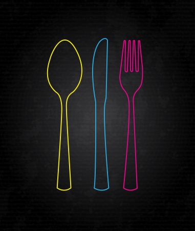 kitchen tool: cutlery icon over black background illustration