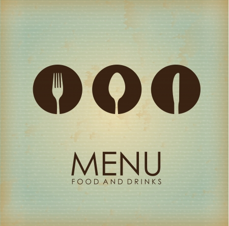 cutlery icon over vintage background illustration