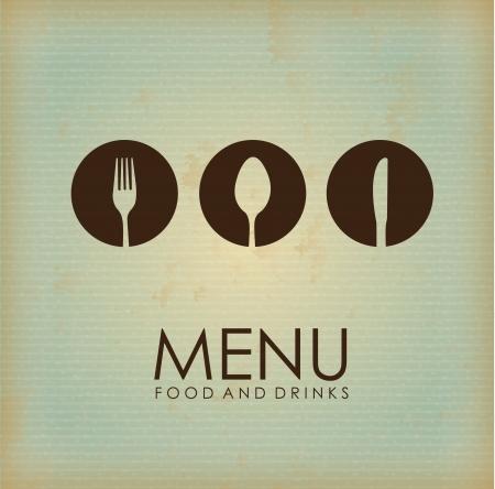 ustensiles de cuisine: ic�ne couverts sur fond vintage illustration