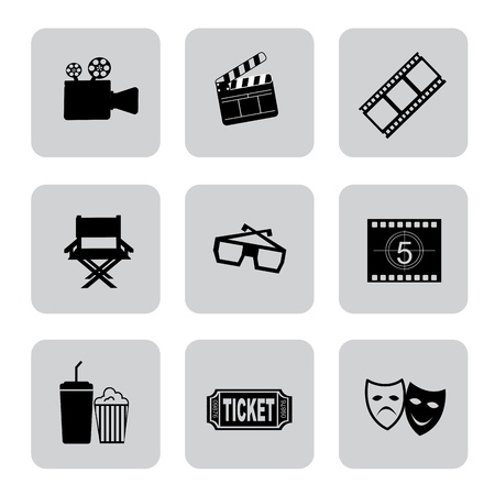 Film icons over white background illustration  Vector
