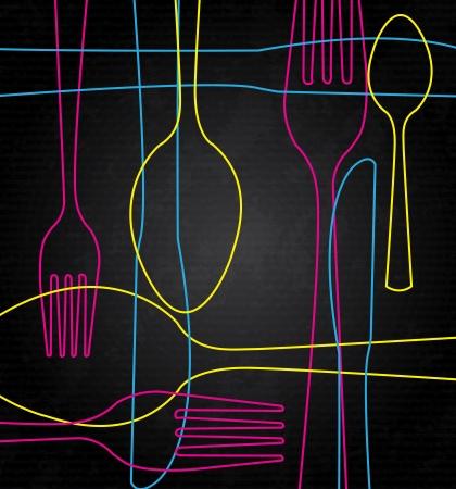 dinner setting: cuberter�a arte sobre fondo negro ilustraci�n Vectores