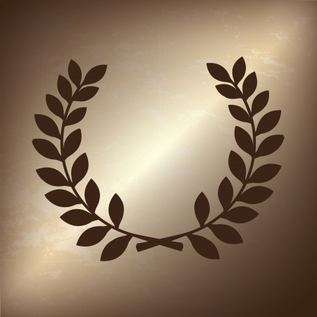 laurels: olive branch over bronze background illustration