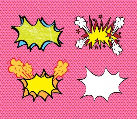 kapow: comics icons over pink background illustration