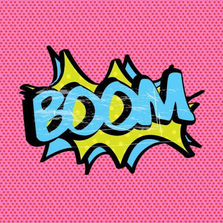 boom expression over pink background illustration Stock Vector - 19772467