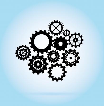 black gears over blue background illustration  Vector