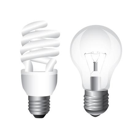 bombillo ahorrador: tipos de bombillas sobre fondo blanco Ilustraci�n Vectores