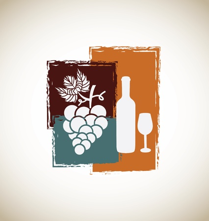 wine vintage over gray background vector illustration  Vector