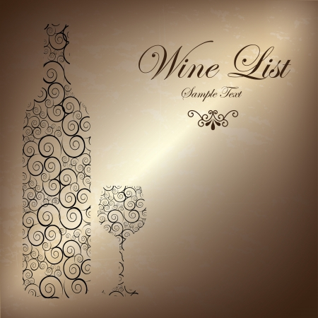 list: wine list over bronze background illustration