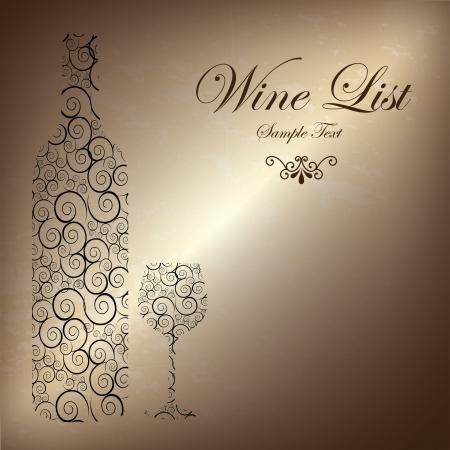 wine list: wine list over bronze background illustration
