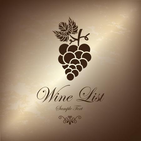 grape wine list over bronze background illustration  Vector