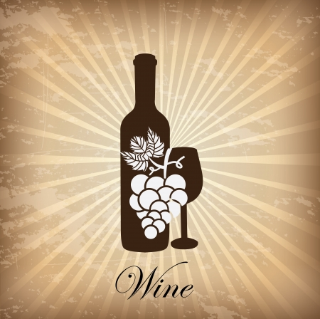 wine cover over grunge background illustration  Vector
