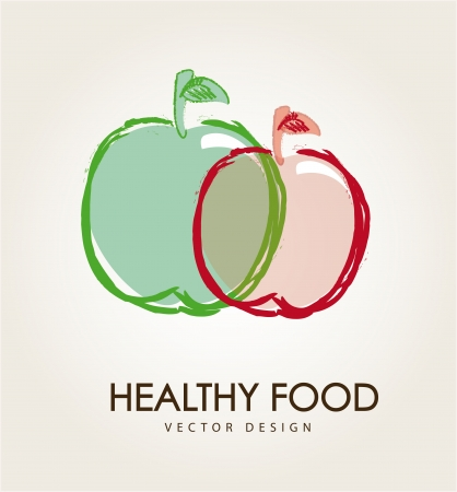 healthy food over beige background illustration  Vector
