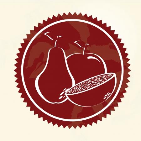 frame fruits over vintage background illustration  Vector
