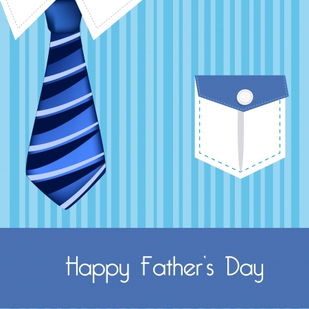 happy fathers day card: daddy shirt and tie color blue illustration