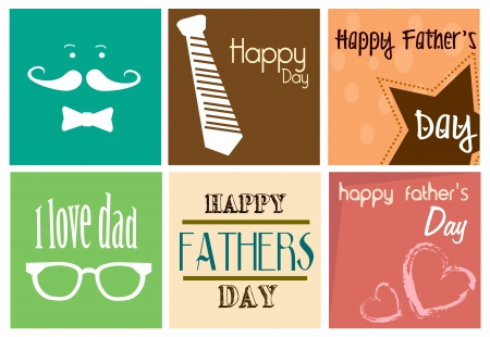 happy fathers day card: happy fathers day print  over white background illustration