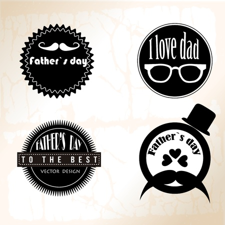 fathers day icon monochrome over vintage background illustration Vector