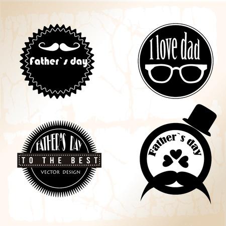 fathers day icon monochrome over vintage background illustration Illustration