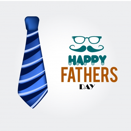 tie happy fathers day over white background  illustration  Vector
