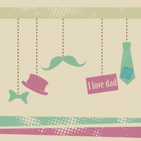 fathers day icons over grunge background illustration