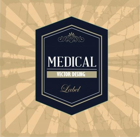 medical label over vintage background illustration Stock Vector - 19772702