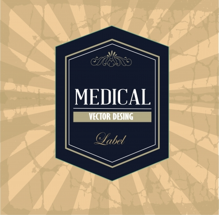 general warning: medical label over vintage background illustration
