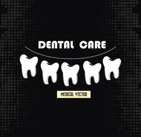 prophylaxe: Zahnpflege �ber schwarzem Hintergrund Illustration