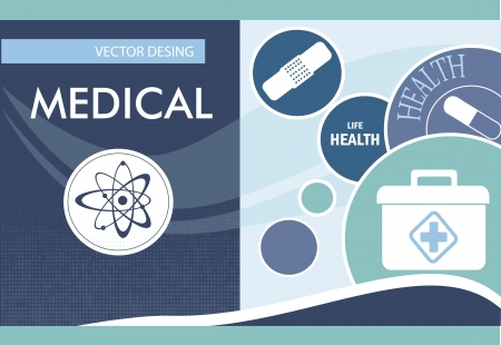 healthier: Medical icons over blue background Illustration