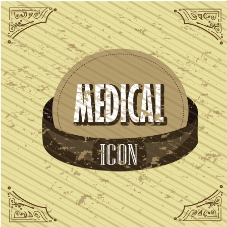 general warning: medical icon over vintage background illustration